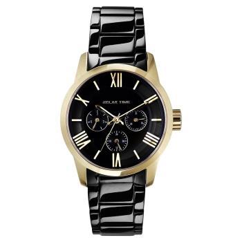 RELAX TIME RT65 羅馬情人日曆腕錶-金框x黑/38mm RT-65-3L