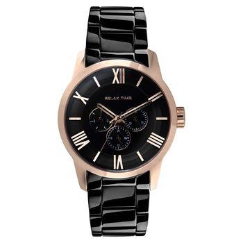 RELAX TIME RT65 羅馬情人日曆腕錶-玫瑰金框x黑/45mm RT-65-5M