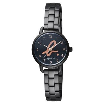 agnes b. 巴黎城市限定女錶-黑x玫塊金字/27mm VJ21-KH40SD(BH8043X1)