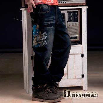 【Dreamming】大尺碼天使惡魔刺繡伸縮中直筒牛仔褲