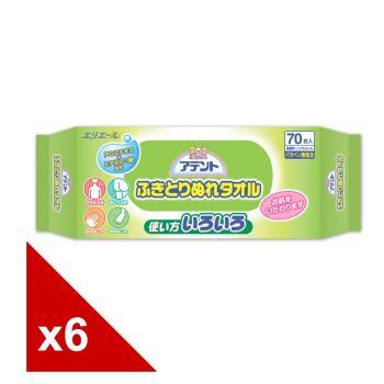 日本大王Attento柔膚濕紙巾 成人專用 (70片x6包)