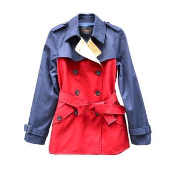 【COACH】時尚雙排扣多變款式風衣 紅藍/紅色/綠藍(贈繆思香水4ml)
