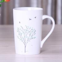 [協貿國際]   陶瓷杯帶蓋咖啡馬克杯  小鳥銀樹
