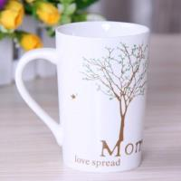 [協貿國際]     陶瓷杯帶蓋咖啡馬克杯  英文銀樹
