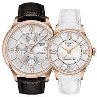 TISSOT 杜魯爾系列情人機械對錶-玫瑰金框/44+32mm T0994273603800+T0992073611800