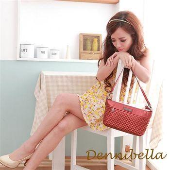 Dennibella 丹妮貝拉 -牛皮斜背編織包-紅