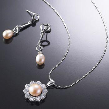 (小樂珠寶) 珍珠有獨特的魅力,無論出門逛街或社交場合,都是必備的裝飾品--頂級天然珍珠項鍊耳環多件式套組