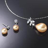 (小樂珠寶) 各式寶石由金工師傅採高級珠寶夾鑲式製作而成---全美正圓3A南洋深海貝珍珠多件套組