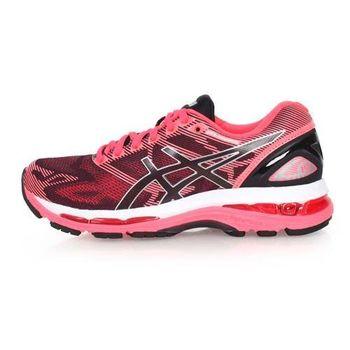 【ASICS】GEL-NIMBUS 19 女慢跑鞋-路跑 亞瑟士 螢光粉黑