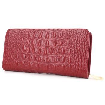 【BAIKAL】貴氣鱷魚紋牛皮長夾(共兩色)