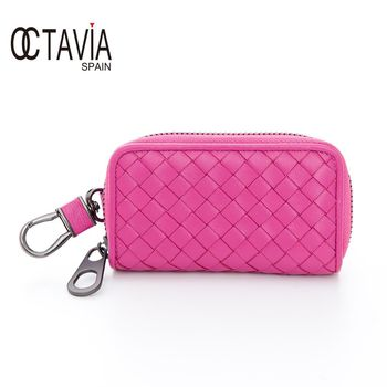 OCTAVIA 8 真皮 -德瑞克編織 優雅牛皮鑰匙包 - 重要粉
