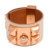 HERMES collier de chien金屬鉚釘Swift小牛皮寬版手環(S-米白X玫瑰金)