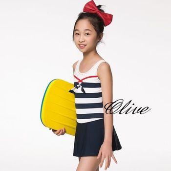 【蘋果牌】經典條紋時尚女童連身裙泳裝 NO.105614