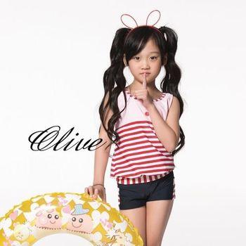 【蘋果牌】經典條紋款式時尚女童兩件式泳裝 NO.105612