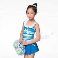 【蘋果牌】亮彩條紋款式時尚女童連身裙泳裝 NO.105608