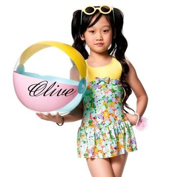 【蘋果牌】繽紛花朵圖騰時尚女童連身裙泳裝 NO.105605