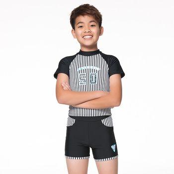 【蘋果牌】黑白條紋款式兒童短袖兩件式泳裝 NO.105211