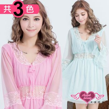 天使霓裳 居家睡衣 清秀迷情 長袖一件式連身氣質蕾絲睡衣(共三色F) NB2202