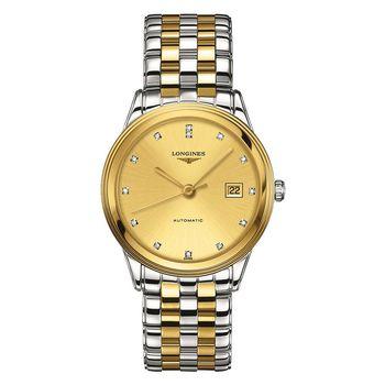 LONGINES FLAGSHIP 旗艦真鑽機械腕錶-金x雙色版/38.5mm L48743377