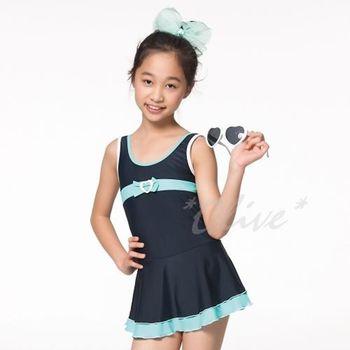 【蘋果牌】運動休閒款式時尚女中童連身裙泳裝 NO.105607