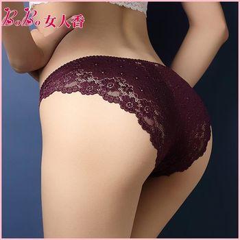【BoBo女人香】法式奢華水溶蕾絲鏤空刺繡性感內褲-低腰丁字褲-N3004-7(墨紫)