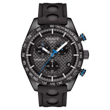 TISSOT 天梭 PRS516 三眼計時腕錶-黑/42mm T1004173720100