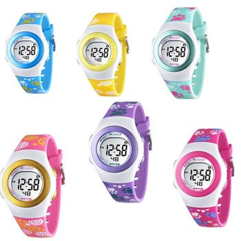【JAGA 捷卡】色彩繽紛花漾年華多功能電子錶(M1062)