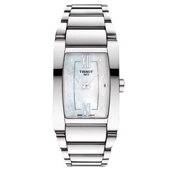 TISSOT 天梭 GENEROSI-T 柔美真鑽女錶-珍珠貝x銀/24mm T1053091111600