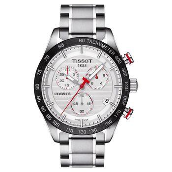 TISSOT 天梭 PRS516 三眼計時石英腕錶-銀x黑框/42mm T1004171103100