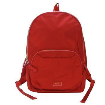 agnes b金屬方牌素面後背包(紅)