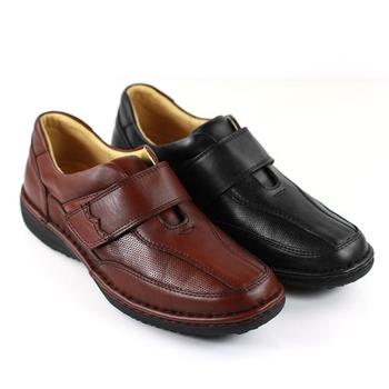 【GREEN PHOENIX】真皮舒適魔鬼氈休閒男氣墊鞋(男鞋)-黑色、咖啡色