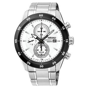 SEIKO精工 Criteria 零極限三眼計時腕錶-白x銀/44mm V176-0AR0W(SSC535P1)