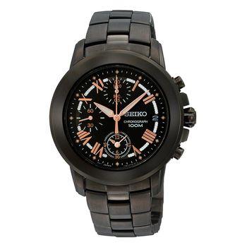 SEIKO Criteria 星光魔法計時腕錶-IP黑x玫瑰金時標 7T92-0LD0K(SNDY93P1)