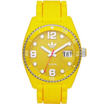 adidas Brisbane‧彩色搖滾日期矽膠腕錶-黃色〈ADH6177〉