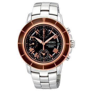 SEIKO Criteria 星光魔法計時限量腕錶-咖啡黑x玫瑰金/36mm 7T92-0LE0K(SNDY94P1)