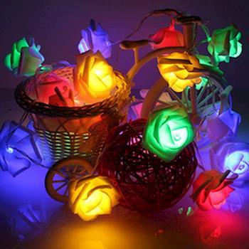 【LED-彩色浪漫玫瑰燈串】
