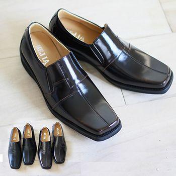 GREEN PHOENIX 方楦頭直套式真皮休閒男皮鞋‧-(古銅色、黑色)