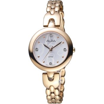 ALBA 雅柏 璀璨水晶俐落時尚手鍊女錶 VJ21-X092P 玫瑰金 AH8344X1