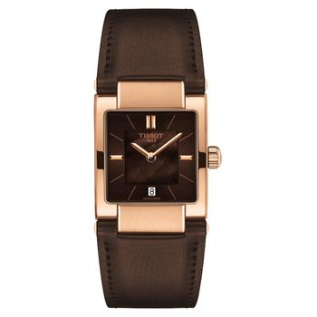 TISSOT 天梭 T02 時尚女錶-珍珠貝x咖啡/23mm T0903103738100
