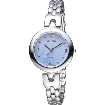 ALBA 雅柏 璀璨水晶俐落時尚手鍊女錶 VJ21-X092B 銀 AH8345X1