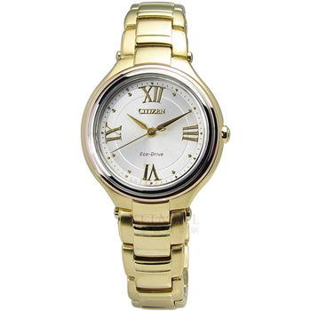 CITIZEN L / FE2043-52A / Eco-Drive 璀璨花漾光動能藍寶石玻璃女錶 金色 30mm