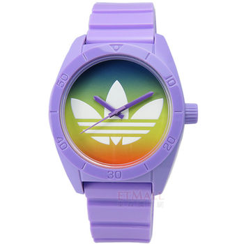adidas / ADH9072 / Originals Santiago 春日微光暈染橡膠腕錶 紫色 藍綠色 40mm