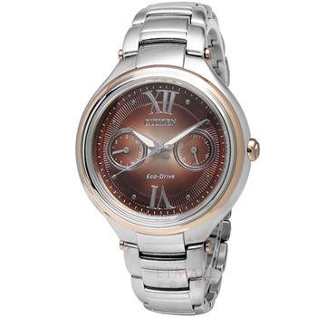 CITIZEN L Eco-Drive 光動能腕錶 藍寶石玻璃 銀色 玫瑰金框 日本製 35mm / FD4007-51W