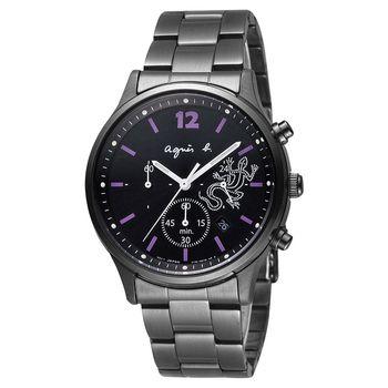 agnes b. 巴黎城市戀人三眼計時腕錶-黑x紫時標/39mm V175-0DP0SD(BU8013P1)
