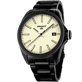 elegantsis 直紋日期黑鋼腕錶 簡約 米白色 45mm / ELJT42-2W04MA