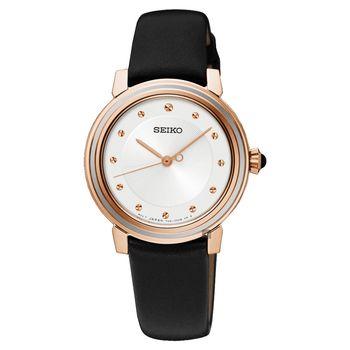 SEIKO 精工 CS 優雅品味時尚女錶-銀x玫塊金框/30mm 7N01-0JE0P(SRZ484P1)