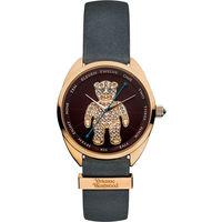Vivienne Westwood / VV103BRGY / Crazy Bear 狂歡泰迪皮革晶鑽手錶 棕色 玫瑰金色 灰色 38mm