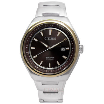 CITIZEN Eco-Drive 簡約紳士 藍寶石玻璃鈦金屬腕錶 玫瑰金 褐色 43mm / AW1255-50W