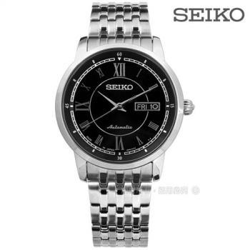 SEIKO 精工★贈皮錶帶 / 4R36-00Y0D.SRP259J1 / PROSPEX 機械上鍊 羅馬時標 不鏽鋼手錶 黑色 39mm