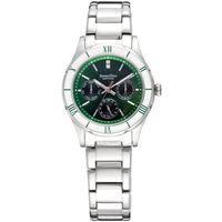 羅梵迪諾 Roven Dino 時尚玩色藍寶石水晶鏡面鋼帶手錶-綠色 35mm〈RD672〉